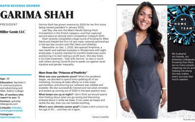 Garima Shah Listed in OBJ's 40 under 40.